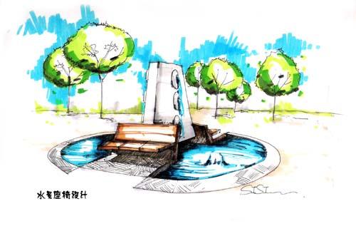 景观小品手绘效果�_[救助]景观小品的手绘图