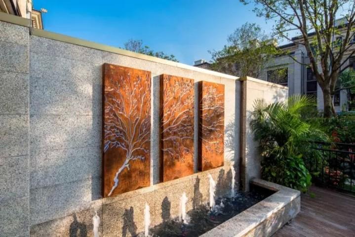 别墅庭院欧式流水景墙