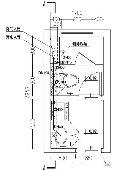 污废合流时卫生间管道布置图