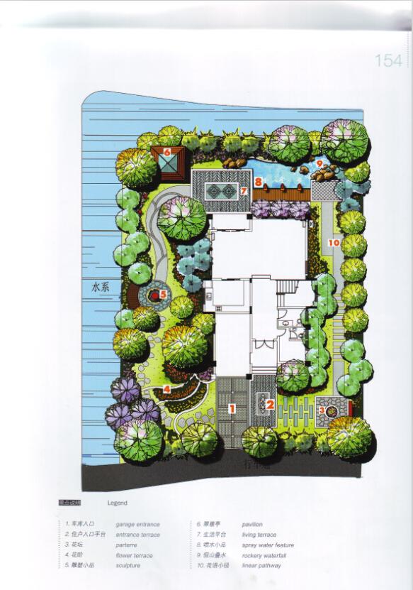 别墅庭院平面手绘图_别墅庭院平面手绘图画法