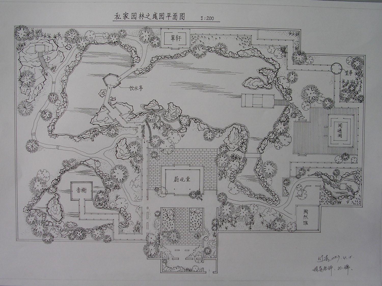 西方古典园林手绘俯视