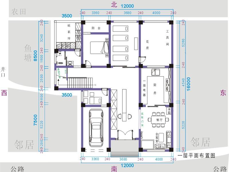 )农村自建房三层平面图