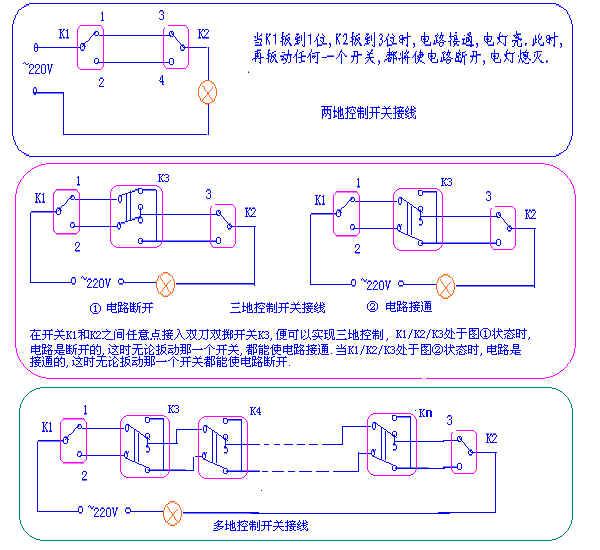 异地控制一个灯的电路图