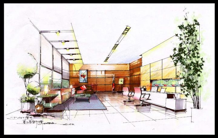 办公室室内手绘效果图_办公室室内手绘效果图高清
