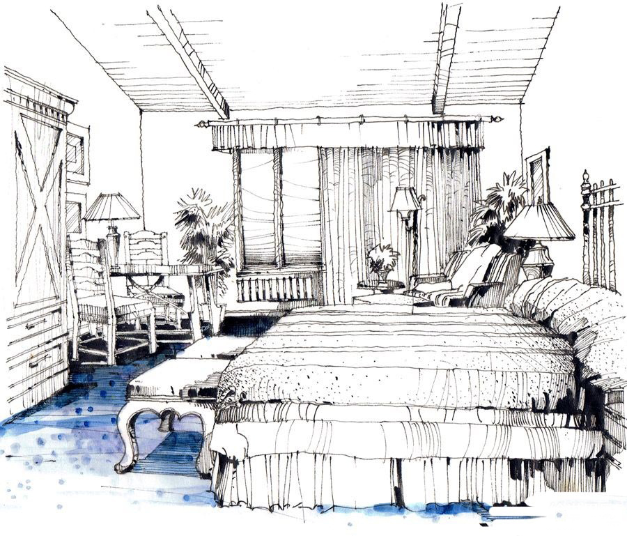 酒店客房马克笔上色步骤 |手绘技巧|建筑表现与制图