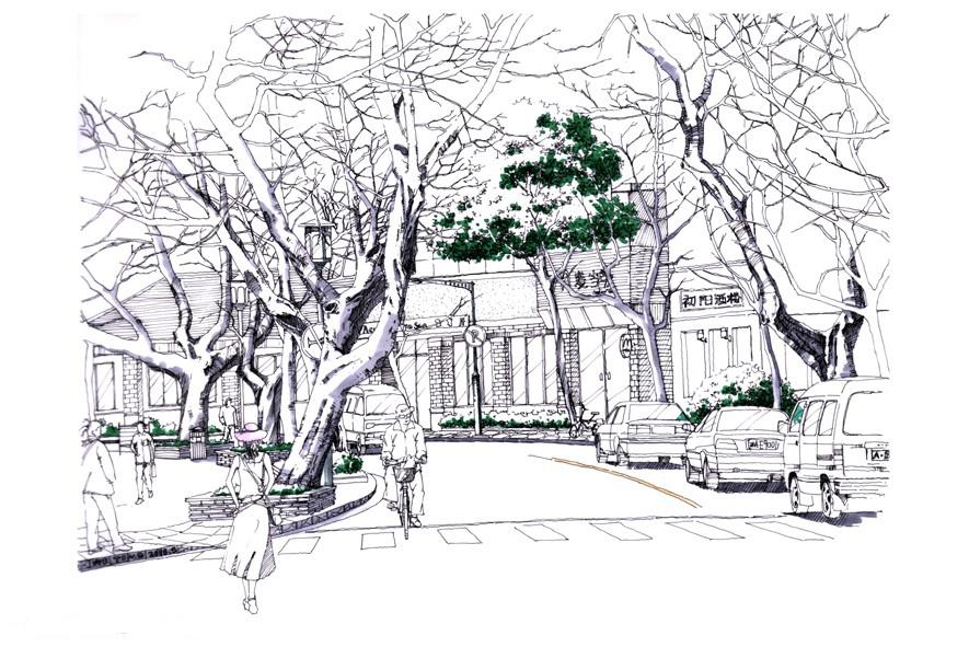 讨论平台 园林 园林效果表现 手绘 > 街道景观手绘步骤图?