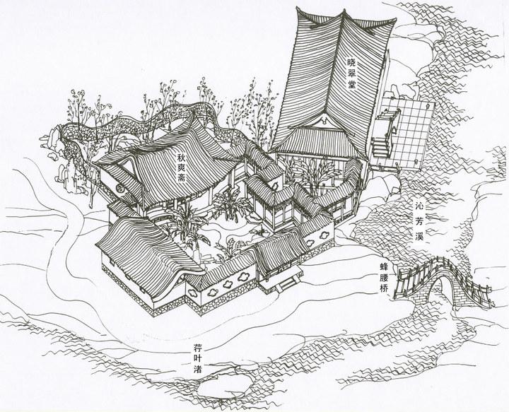 欣赏:红楼梦建筑手绘图