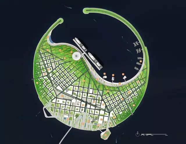 海口南海明珠生态岛概念规划的国际竞赛 南海明珠生态岛是海航实业集团在海口湾的重点项目,计划是要建成一个以邮轮母港功能为核心的生态旅游胜地。为此,他们定向邀请了包括英国诺曼福斯特事务所、 美国摩弗西斯建筑事务所、美国 Diller Scofidio + Renfro 事务所、韩国履露斋工作室以及荷兰 UNStudio 在内的 10 家设计方参与这一设计竞赛。 最终,曾参与纽约高线公园设计的 Diller Scofidio + Renfro 事务所,斩获竞赛一等奖。 按照海航实业集团的规划,这会是一个集