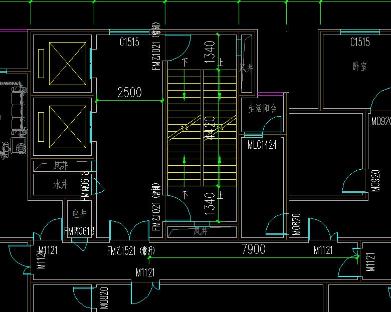 框架核心筒平面图
