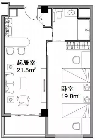 """4""""小起居大卧室""""套间平面图"""