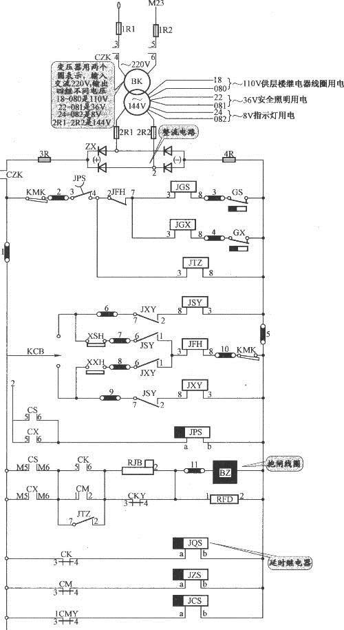 接触器控制的简易货梯电路